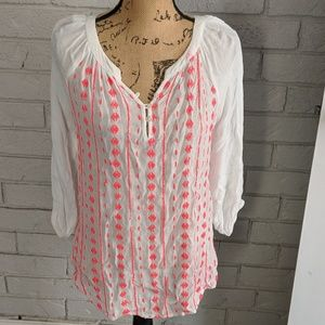 Semi-sheer top with bright pink details
